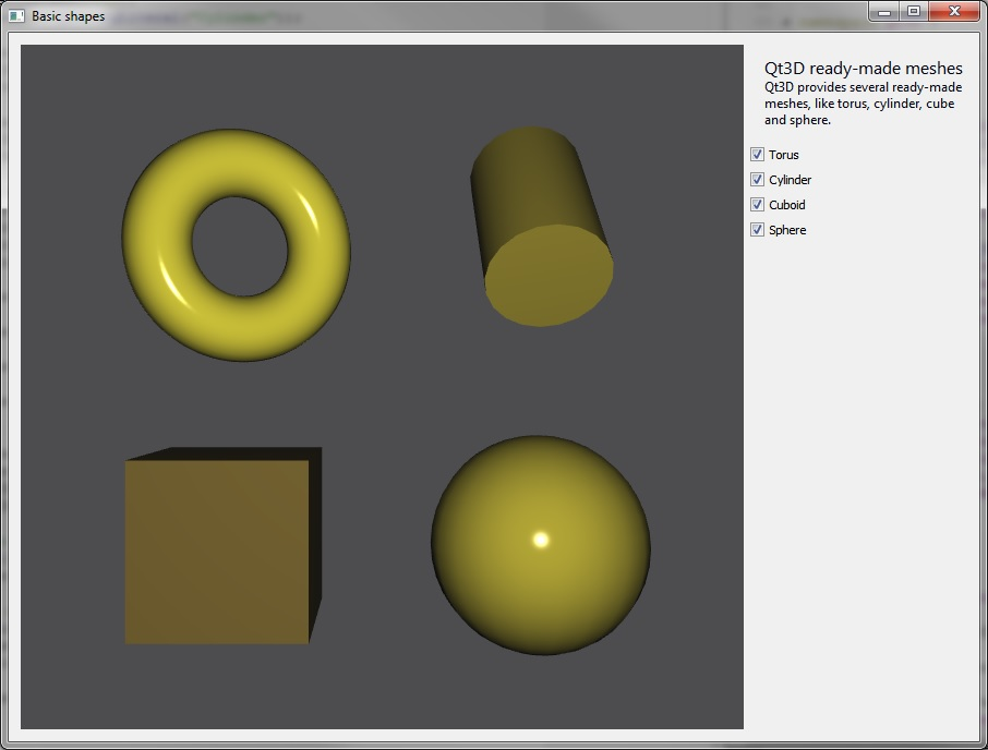Qt 3D: Basic Shapes C++ Example | Qt 3D 5 9 - GUI Framework